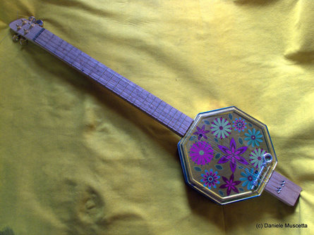 Flower Power cookie tin guitar