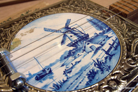 Old Dutch Windmill cookie tin guitar
