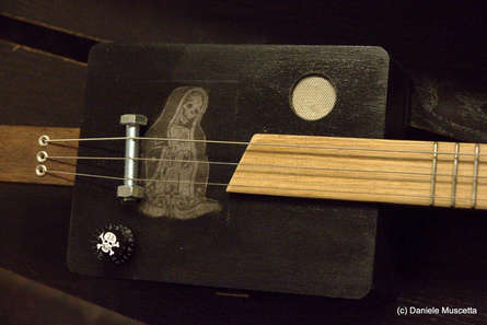 Santa Muerte wooden box guitar
